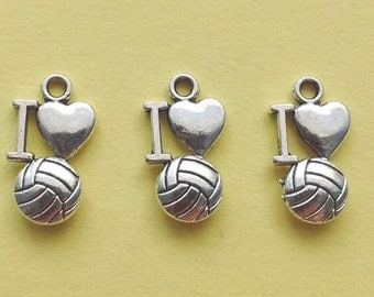 10 I love Volleyball Charms Silver I heart volleyball Charms - CS3092