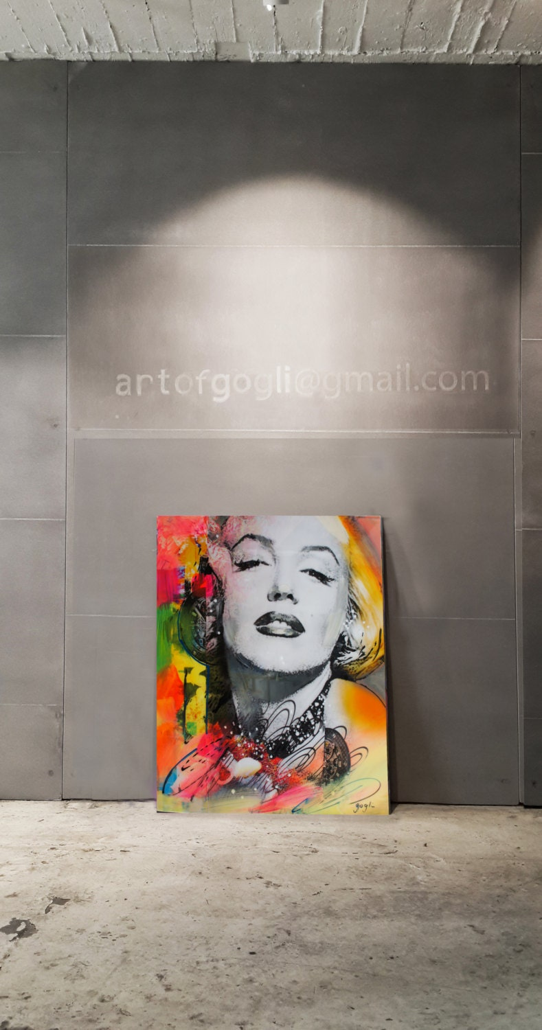 Marilyn Monroe Mixed Media Collage Art Pop Painting