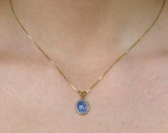 Opal Pendant  Oval Pendant Black Opal Pendant