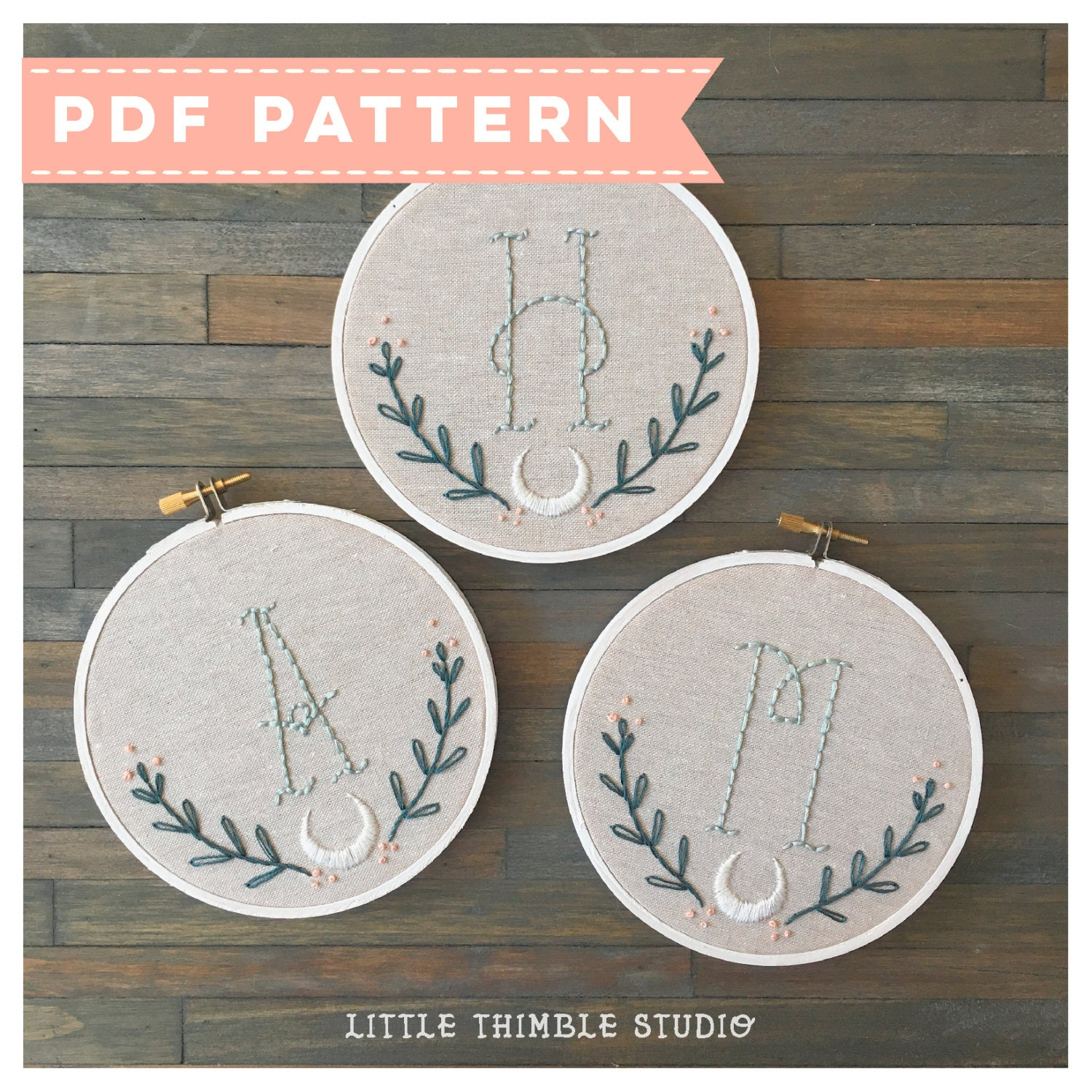 Pdf monogram embroidery pattern initial