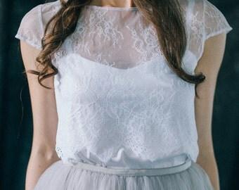 Lace white wedding top, bridal bolero