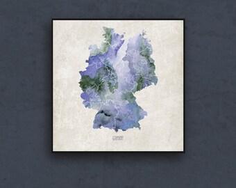 Watercolor map of Germany. Map wall art print. Watercolor map print. Europe map poster by takeTHEPICTURE