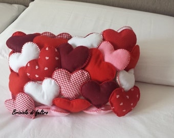 Decorative pillow with hearts