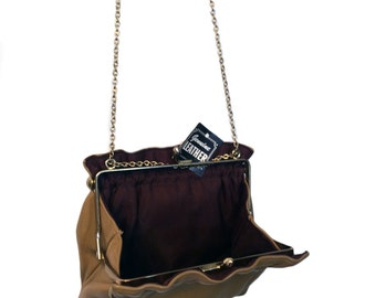 Soft Leather Mini bag with Grosgrain Lining, Kiss lock
