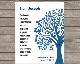 Printable Baby Boy DEDICATION Gift - Personalized - Jeremiah 29:11 Christening Baptism Gift -Tree Scripture