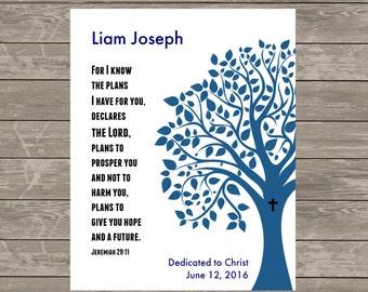 Printable Baby Boy DEDICATION Gift - Personalized - Jeremiah 29:11 Christening Baptism Gift -Tree Scripture