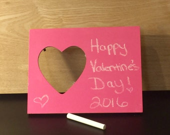 Pink Heart Shaped Wooden Chalkboard Picture Frame