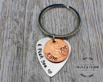 I Pick You, Guitar Pick, Lucky Penny, Personalized Penny Keychain, Anniversary Gift, Gift For Husband/Boyfriend, Gift for Wife/Girlfriend