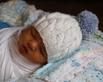 White Cable Baby Hat Knit Hat Newborn Photo Prop Hat Classic Baby Hat Baby Boy Gift Baby Girl Gift Gender Neutral Baby Hat Going Home Outfit