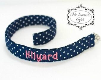 Personalized lanyard, Teacher lanyard, Nurse lanyard, Badge ID holder lanyard, Navy blue and white polka dot
