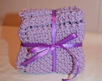 Knitted Wash Cloths / Set Of 3 / Lavender / Bath Accessories / Wash Cloths / Dish Cloths / Gift For Her / Gift Set / Handmade