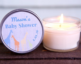 Baby Boy Shower Soy Candle Favors (Set of 12) Animals | Giraffes