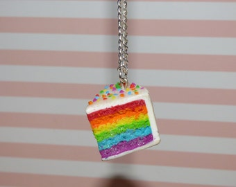 Rainbow Cake Necklace Polymer Clay