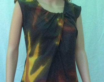 Free shipping! hand-painted cotton voile Ella dress