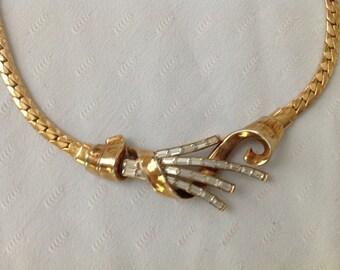 Vintage Trifari Necklace Gold Rhinestone Choker Trifari Pat Pend Snake Chain