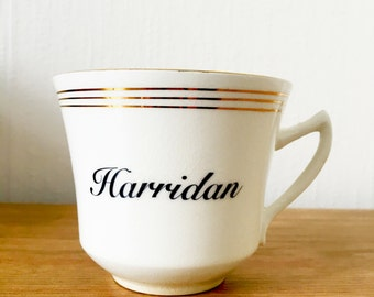 Harridan | Custom Swear Teacup | Made To Order | Funny Rude Insult Obscenity Profanity | Unique Gift Idea
