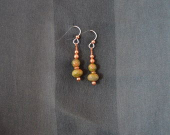 Unakite and copper drop earrings