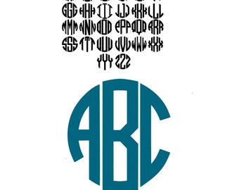 Circle Monogram Font SVG, EPS, DXF Instant Download A-Z Cut files for Silhouette and Cricut Alphabet font Cutting Files.