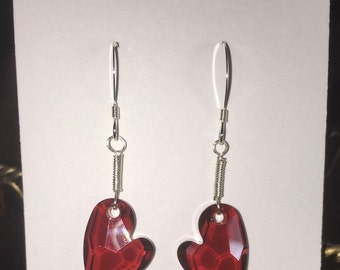 Sterling silver and Swarovski Devoted 2 U heart earrings