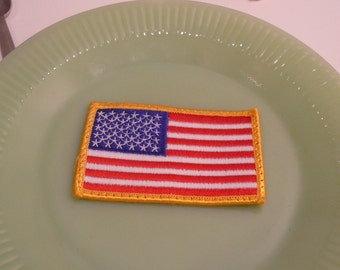American Flag Fabric Patch Old New Stock Gold Trim Sew On Patch