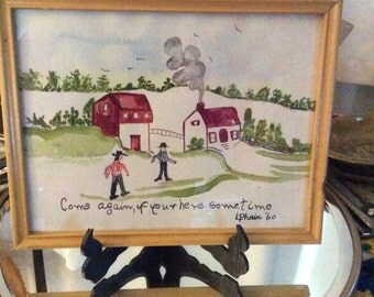 Vintage Folk Art painting, vintage watercolor painting, Folk Art, naive painting, vintage painting