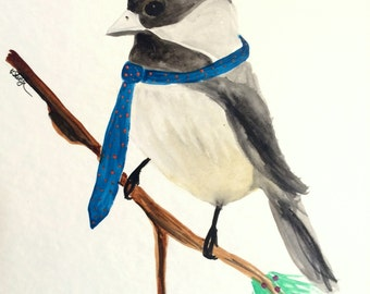 Chickadee wearing necktie-PRINT