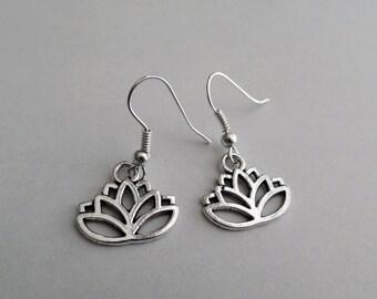 Silver Lotus Earrings | Silver Flower Earrings