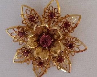 Antique Gold and Pink Brooch, Vintage
