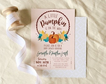 A Little Pumpkin is On the Way, Pumpkin, Fall, Autumn, Leaves, Baby Shower, Gender Neutral Baby Shower Invitation, Printable