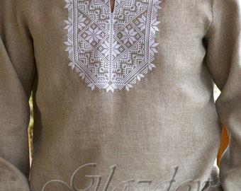 Vyshyvanka mens Ukrainian Embroidered shirt, Ukrainian embroidered shirt for men, linen shirt for men