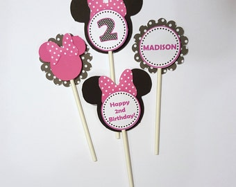 Minnie Mouse Cupcake Toppers (24), Minnie Cupcake Toppers, Minnie Mouse Birthday, Pink and White Polka Dot Birthday