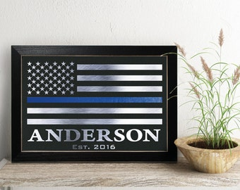 Police Officer Gift,  Law Enforce sign, Personalized Thin Blue Line Flag - PA2002