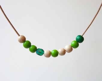Green Wooden Bead Statement Necklace
