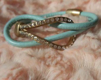 Infinity Double Leather Strap Bracelet with Matte Gold Rhinestone Center