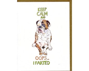 English Bulldog Card - Dog Greeting Card - Dog Card - English Bulldog Gifts - Keep Calm and Carry On