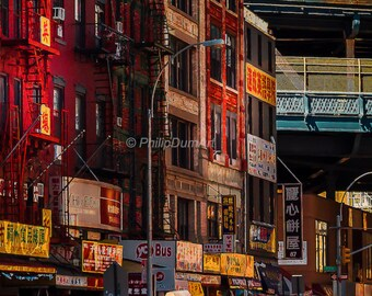 Chinatown New-York, USA, urban photography, american cityscape, red tone façade, architecture, urban infrastructure, color photography