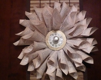 Handmade Book Page Wreath with Clock Face and Brass Knob