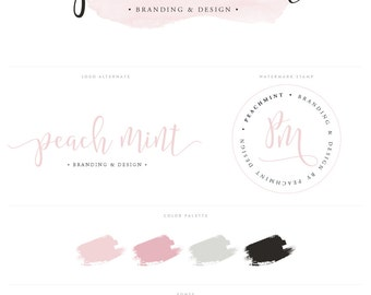 Logo Design Branding Package Inc. Photography Watermark - Pink Watercolor