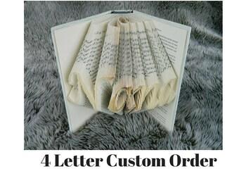 Custom Name, Book Art, Book Folding, Folded Book Art Book Art,book Origami, unique gift, book sculpture, unique gift