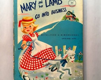 Vintage Pop Up Book Mary and her Lamb Go Into Business Children's Hardback