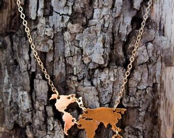 World Necklace - Globe necklace - World Traveler - Earth necklace - Nature Necklace  - World Map Necklace - Wanderlust - Travel Necklace