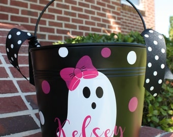 Personalized Halloween Bucket, Metal Bucket, Girly Ghost, Trick or Treat Pail