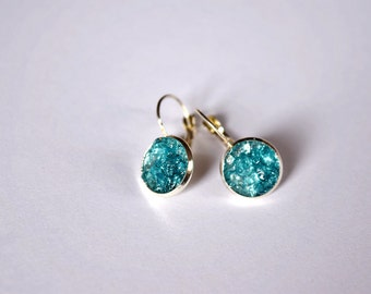 Aqua earrings, Blue stone druzy jewelry, Bridal party gift, Teal dangle earring, Navy jewelry Women gift, Gem gift for her, Bridesmaid gift