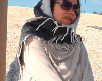 Women felted wool Scarf with hood . felted  Scarf