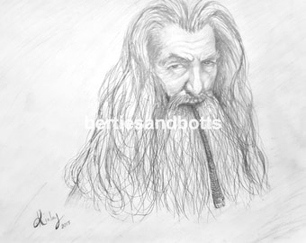 PDF Download Lord of the Rings Style Gandalf Wall Art Pencil Drawing 8 x 10 Printable