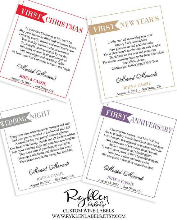 Wedding Milestone Wine Labels A Year Of Firsts Wine: Items Similar To Wedding Milestones Wine Labels, Wine