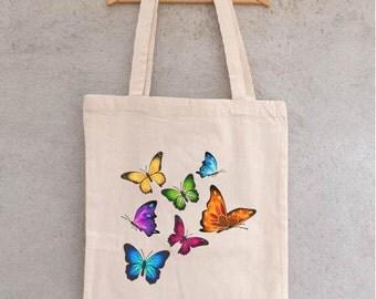 "Tote Bag ""Envol of butterflies"" - bag shopping - shopping - bag Butterfly tote - cotton bag bag"