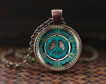 Hippie necklace, Hippie pendant, Hippie jewelry, Peace sign necklace, peace jewelry, peace pendant, men's necklace, Hippie men's jewelry