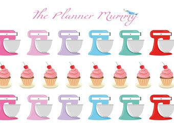 Baking Cooking Cupcake Kitchen Kitchenaid Mixer Reminder Stickers Planner Diary Calendar Kitchen Aid