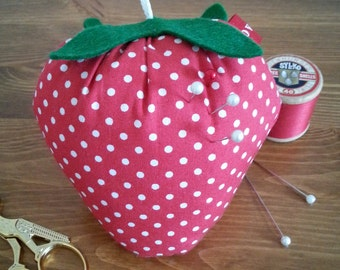 Strawberry Spot Pin Cushion with Hanging Loop.